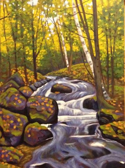 "Waterfall near Haliburton, acrylic on canvas, 18 x 24"", 2017"