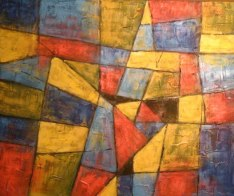 "Geometric abstract, acrylic on texturized canvas, 16"" x 20"", 2009"