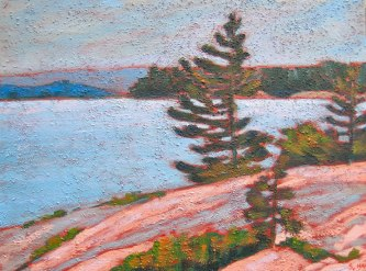 "Georgian Bay scene, acrylic on texturized canvas, 12"" x 16"", 2011 SOLD"