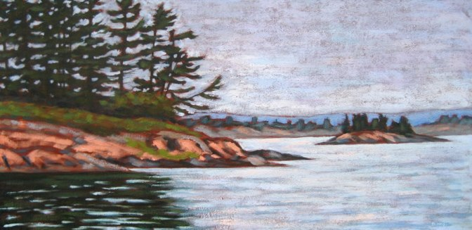 "Georgian Bay scene, acrylic on texturized canvas, 18"" x 36"", 2011, SOLD"