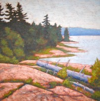 "Georgian Bay scene, acrylic on texturized canvas, 24 x 24"", 2012"