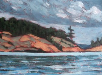 "Georgian Bay series #1, acrylic on texturized canvas, 8"" x 10"", 2010"