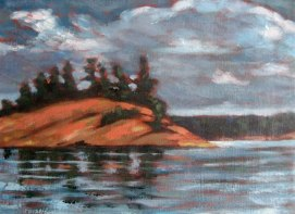 "Georgian Bay series #2, acrylic on texturized canvas, 8"" x 10"", 2010"