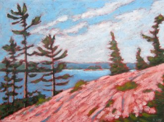 "Georgian Bay sketch, acrylic on texturized canvas, 12"" x 16"", SOLD"
