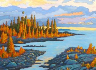 "Dorcas Bay Sunset, acrylic on canvas, 30"" x 40"", SOLD"