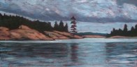 "Cloudy Day on Georgion Bay, 12"" x 24"", acrylic on texturized canvas, 2011, SOLD"