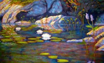 "Waterlilies on Guilford Lake, acrylic on canvas, 24"" x 40"", SOLD"