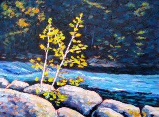 "Gull River Splendour, acrylic on texturized canvas, 18"" x 24"", 2011 SOLD"