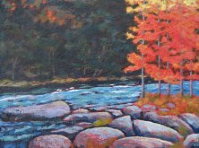 "Gull River in autumn, acrylic on texturized canvas, 18"" x 24"", 2011"