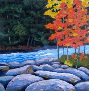 "Fall on the Gull River, acrylic on texturized canvas, 16"" x 16"""