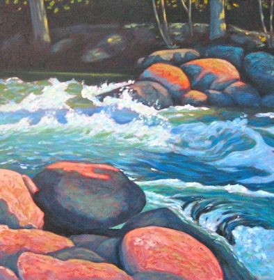 "Gull River Splash, acrylic on texturized canvas, 28"" x 28"""
