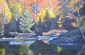 "Autumn on Guilford Lake, acrylic on texturized canvas, 24"" x 36"""