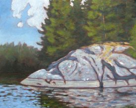 "Big Rock on Guilford Lake, acrylic on texturized canvas, 16"" x 20"""