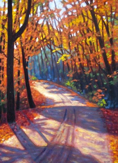 "Boice Bradley Road in Autumn #4 acrylic on canvas, 30"" x 22"", SOLD"