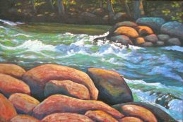 "Gull River Rapids, acrylic on texturized canvas, 24"" x 36"""