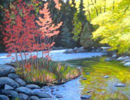 "Gull River Scene, acrylic on texturized canvas, 22"" x 28"""