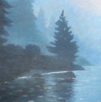 "Misty Morning on Mary Lake, acrylic on canvas, 18"" x 18"", SOLD"