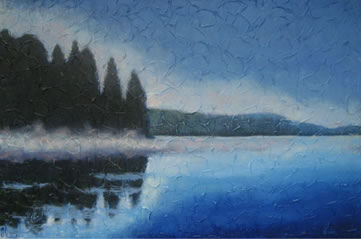"Misty Morning, Acrylic on textured canvas, 24"" x 36"", 2009 SOLD"