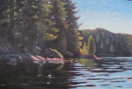 "Haliburton Moment, acrylic on texturized canvas, 24"" x 36"", 2011, SOLD"