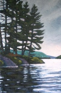 "Haliburton Pines Against Sombre Sky, 24"" x 36"", acrylic on texturized canvas, 2011 SOLD"