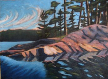 "Haliburton Reflections, 18"" x 24"", acrylic on texturized canvas, 2011"