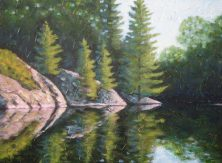 "Haliburton Relfections 5, acrylic on canvas, 30"" x 40"", 2008, SOLD"