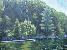 "Haliburton Shoreline with log, acrylic on texturized canvas, 30"" x 40"", 2010, SOLD"