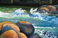 "Splash on the Gull River, acrylic on canvas, 24"" x 36"""