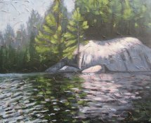 "Stormy Lake, acrylic on texturized canvas, 22"" x 28"", 2009, SOLD"