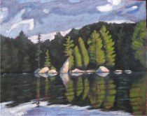 "Sunlit Shore on Sherborne Lake, 24"" x 30"", acrylic on texturized canvas, 2011, SOLD"