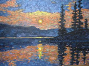 "Haliburton Sunset Impression 2, acrylic on canvas, 30"" x 40"", 2008"