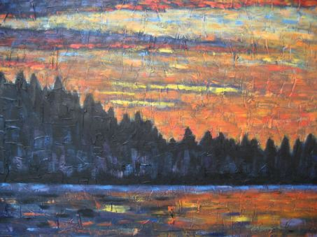 "Haliburton Sunset, acrylic on canvas, 30"" x 40"", 2008, SOLD"
