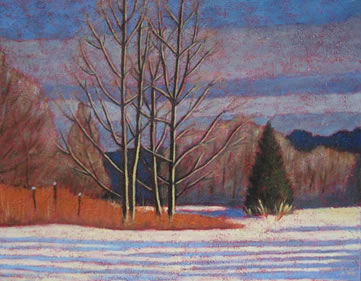 "Winter Scene Along Lake Kashagawigamog, 16"" x 20"", acrylic on texturized canvas, 2011"