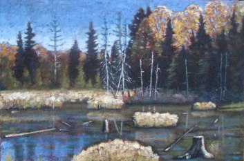 "Swampland across from Portage Lake in Autumn, acrylic on texturized canvas, 24"" x 36"", 2011, SOLD"