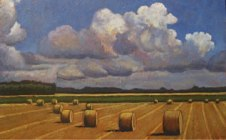 "Round Bales in Field, 30"" x 48"", acrylic on texturized canvas, SOLD"