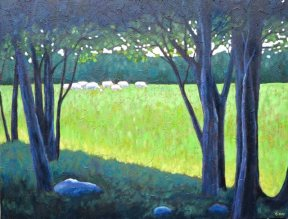 "Cattle grazing near Benmiller, acrylic on texturized canvas, 26"" x 34"", SOLD"