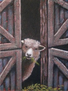 """Little Sheep, 12"""" x 16"""", acrylic on texturized canvas, 2011, SOLD"""
