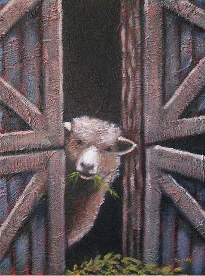 "Little Sheep, 12"" x 16"", acrylic on texturized canvas, 2011, SOLD"