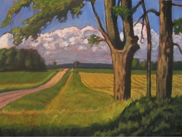 """Old Maples, Along Dutch Line, 20"""" x 24"""", acrylic on texturized canvas, 2011, SOLD"""