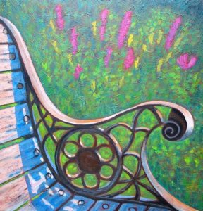 "Park Bench at Benmiller Inn (before tornado), acrylic on texturized canvas, 24"" x 24"", SOLD"
