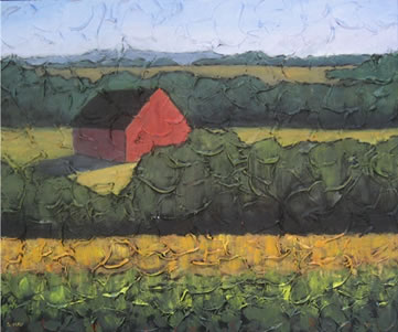 "Red Barn, 16"" x 20"", acrylic on texturized canvas, 2011, SOLD"