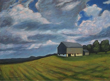 """Rural Landscape, 30"""" x 40"""", acrylic on texturized canvas, 2011, SOLD"""