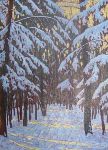 "Winter in Benmiller, acrylic on texturized canvas, 22"" x 28"", SOLD"