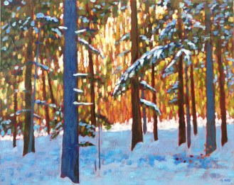 "In the woods near Benmiller, Ont., acrylic on texturized canvas, 16"" x 20"""