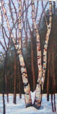 "King of the Woodlands, acrylic on texturized canvas, 40"" x 20"", 2011"