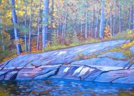 """Koshlong Lake scene, acrylic on texturized canvas, 28"""" x 38"""""""
