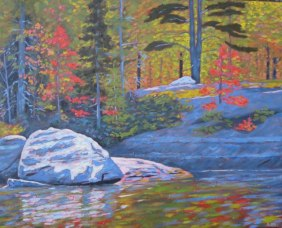 """Koshlong Lake shoreline, acrylic on texturized canvas, 24"""" x 30"""""""