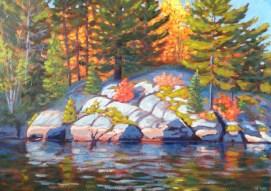 "Koshlong Shoreline in September, acrylic on texturized canvas, 20"" x 28"", SOLD"