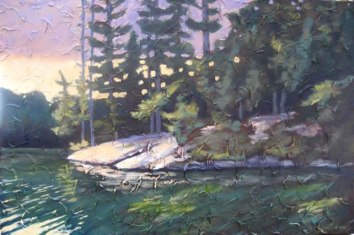 "Lake St. Norah, Haliburton, acrylic on texturized canvas, 24"" x 36"", 2010, SOLD"