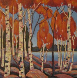 "Landscape Birches, acrylic on texturized canvas, 18"" x 18"", SOLD"